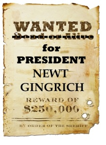 Newt Gingrich Wanted Poster